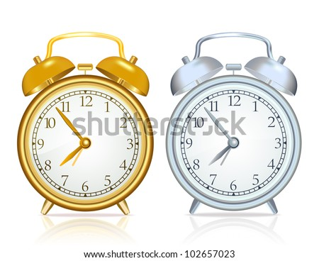 Gold alarm clock and silver alarm clock on white background - stock vector