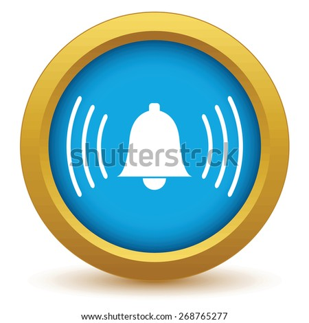 Gold alarm clock icon on a white background. Vector illustration - stock vector