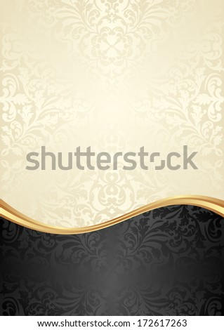 gold and black background with abstract ornaments - stock vector