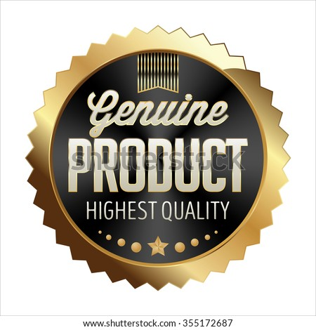 Gold and Black Badge on White Background. Genuine Product. - stock vector