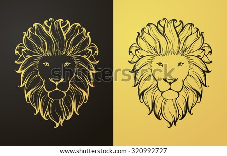 Gold and black lion icon. Linear graphic stylized animal vector illustration. Lion head with mane can be used as design for tattoo, t-shirt, bag, poster, postcard - stock vector