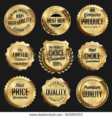 Gold and Black Shiny Luxury Badge. Luxury Set. Best Choice. Best Price. Limited Edition. - stock vector