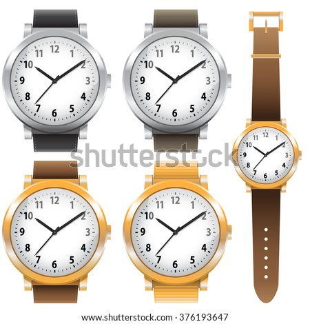 Gold and chrome watches, classic design expensive watch set. Vector illustration - stock vector
