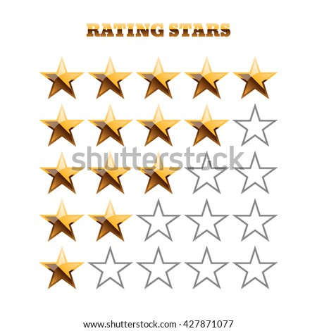 Gold and grey rating stars on white vector illustration 10 vector - stock vector