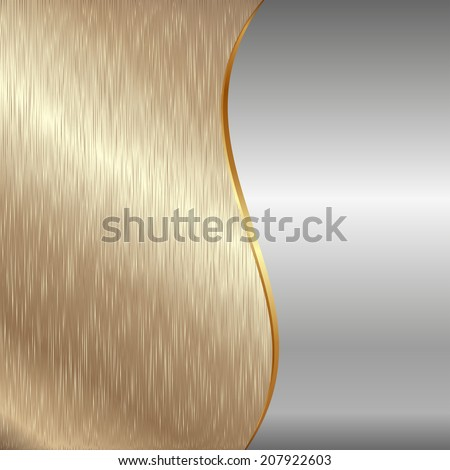 gold and iron metallic background - stock vector