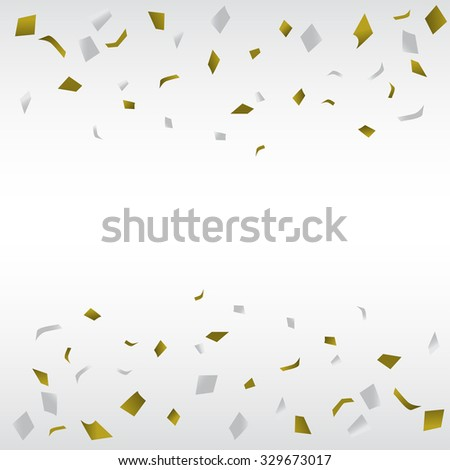 gold and silver confetti background, can be ues for celebration, new year, birthday, christmas greeting card.  also design for web page, business banner, cover page. vector illustration - stock vector
