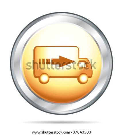 Gold and silver glass button with delivery symbol. Vector illustration. - stock vector
