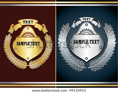 gold and silver shields - stock vector
