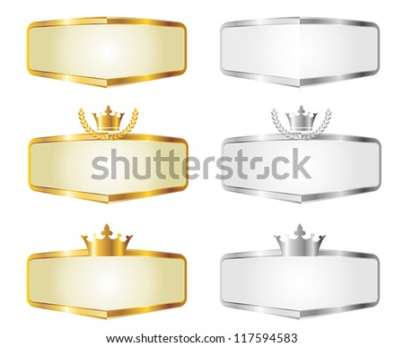 Gold and Silver Vector Banners of Royal Seal Set - stock vector