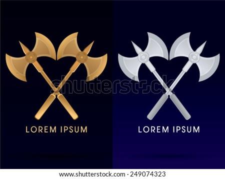 Gold and silver, Viking twins Axe,  logo, symbol, icon, graphic, vector. - stock vector