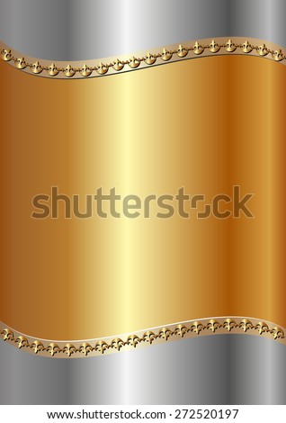 gold and steel background with decorative border - stock vector