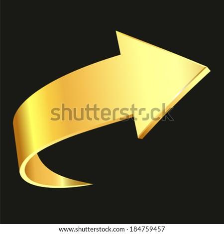 Gold arrow - stock vector