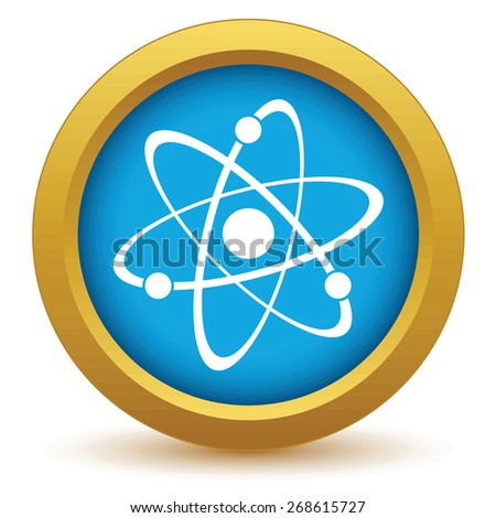 Gold atom icon on a white background. Vector illustration - stock vector