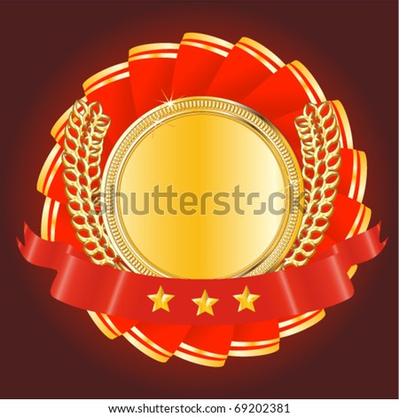 gold award medal - stock vector