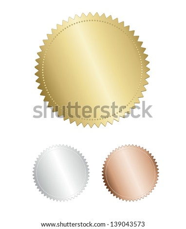Gold Award seal medals set on white background - stock vector