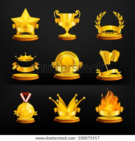 Gold awards, vector set on black - stock vector