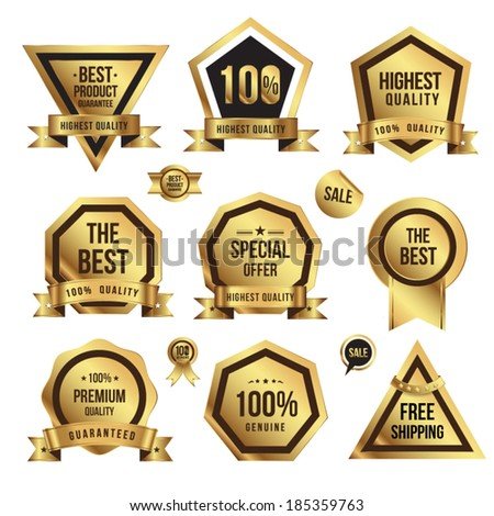 Gold badges set promotion guarantee - stock vector