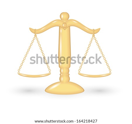 gold balanced scale with shadow on white background - stock vector