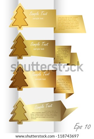Gold Banners - stock vector