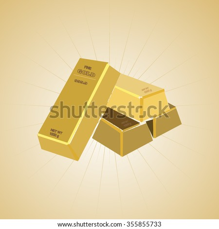 gold bar on a beige background - stock vector
