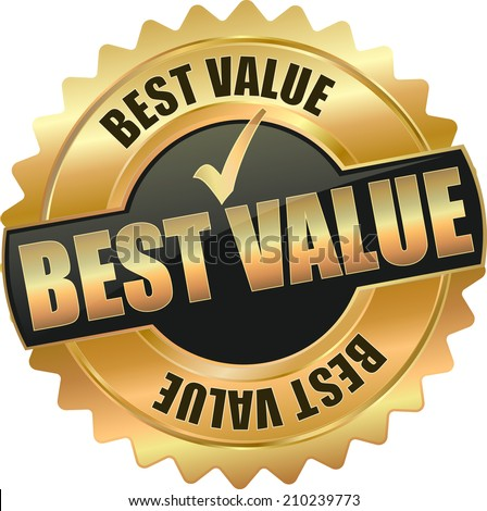 gold best value sign - stock vector