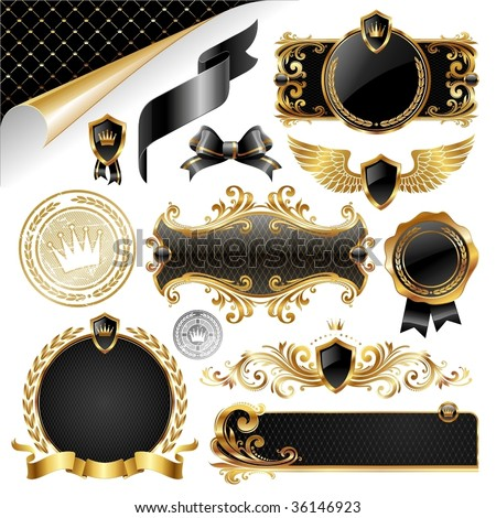 Gold & black collection of design elements - stock vector