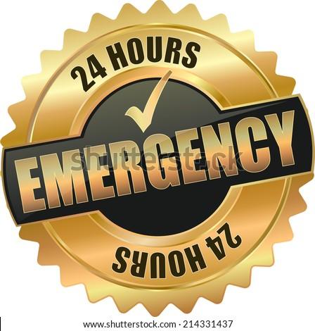 gold black 3d vector eps10 emergency badge sign - stock vector