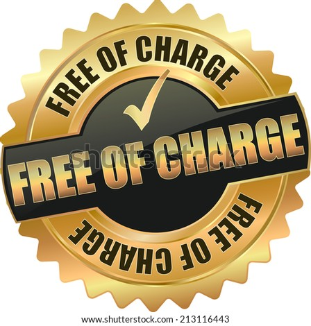 gold black free of charge sign - stock vector