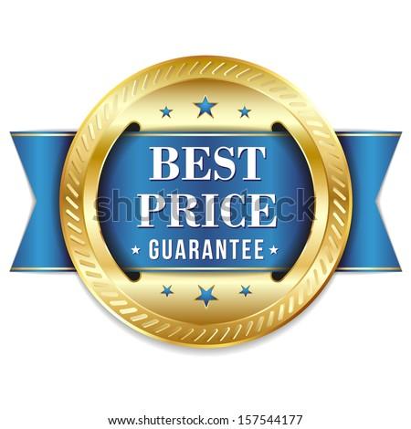 Gold blue best price badge - stock vector