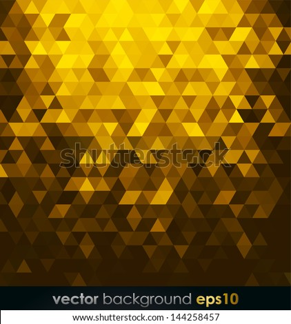 Gold bright background with triangle shapes - stock vector