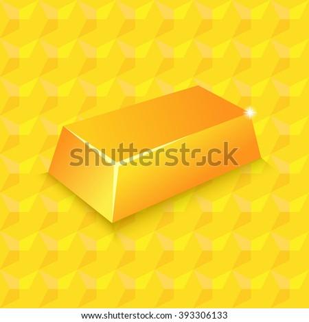 Gold bullion on a gold background. Vector illustration - stock vector