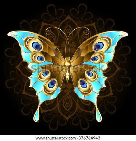 gold, butterfly jewelry, decorated with turquoise on a black background.  - stock vector