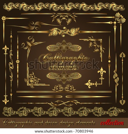 Gold calligraphic design elements vol2. Vector design corners, bars, swirls, frames and borders. Hand written retro feather symbols. - stock vector