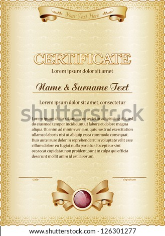 gold certificate of completion template .