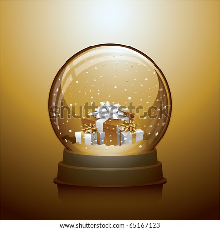 Gold Christmas snow globe with gift boxes within - stock vector