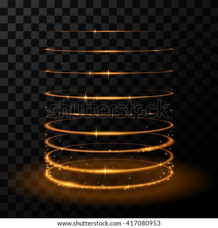 Gold circles effect - stock vector