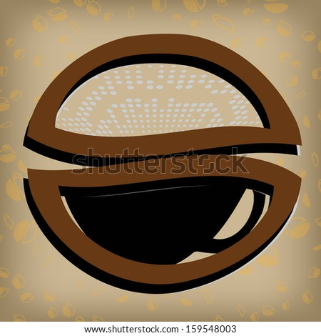 Gold coffee label , cup coffee illustration , design abstract coffee , abstract background coffee. - stock vector