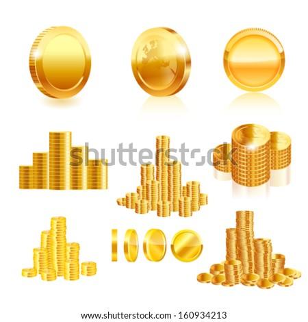 Gold coin set. Vector - stock vector
