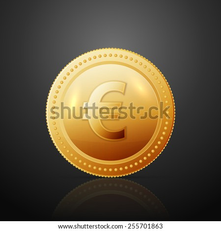 Gold coin with dollar sign. Vector illustration isolated on dark background - stock vector