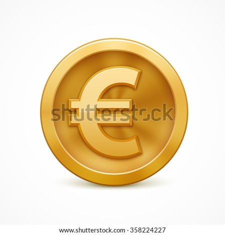 Gold coin with euro sign. Realistic vector illustration - stock vector