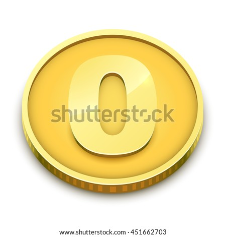 Gold coin with zero nominal vector illustration isolated on white background. No cost concept Image. - stock vector