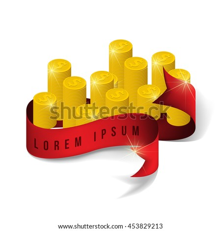 Gold coins cash money in rouleau and red ribbon. Eps10 vector illustration. Isolated on white background - stock vector