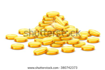 Gold coins cash money in rouleau. Vector illustration. Isolated on white background. Transparent objects used for lights and shadows drawing. Business and banking objects. - stock vector