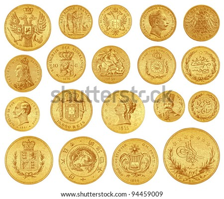 Gold coins collection / vintage illustration from Meyers Konversations-Lexikon 1897 - stock vector