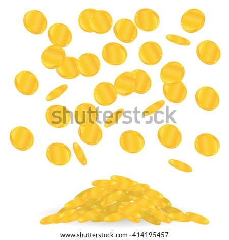 gold coins fall. Many of falling coins - stock vector