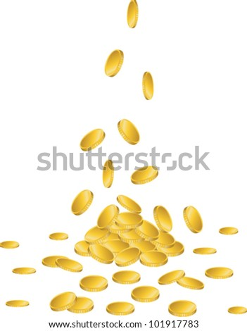 Gold coins falling to the ground - stock vector