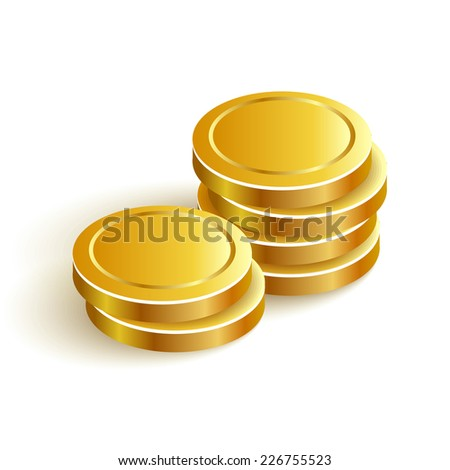 Gold Coins Vector Icon Eps Payment Two - stock vector