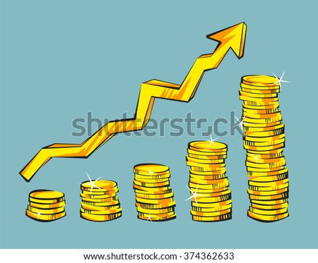Gold coins with increasing arrow in retro cartoon style. Golden money vector illustration. Business success, bank credits, deposit, investment, saving, fortune concepts. Modern vintage design. - stock vector