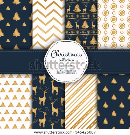 Gold collection of seamless patterns with blue and white colors.  Set of seamless backgrounds with traditional symbols - snowflakes, pine tree,deer and suitable abstract patterns.  - stock vector