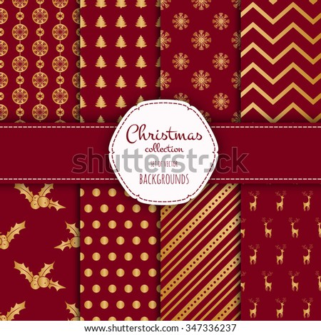 Gold collection of seamless patterns with red colors.  Set of seamless backgrounds with traditional symbols - snowflakes, pine tree,deer and suitable abstract patterns.  - stock vector